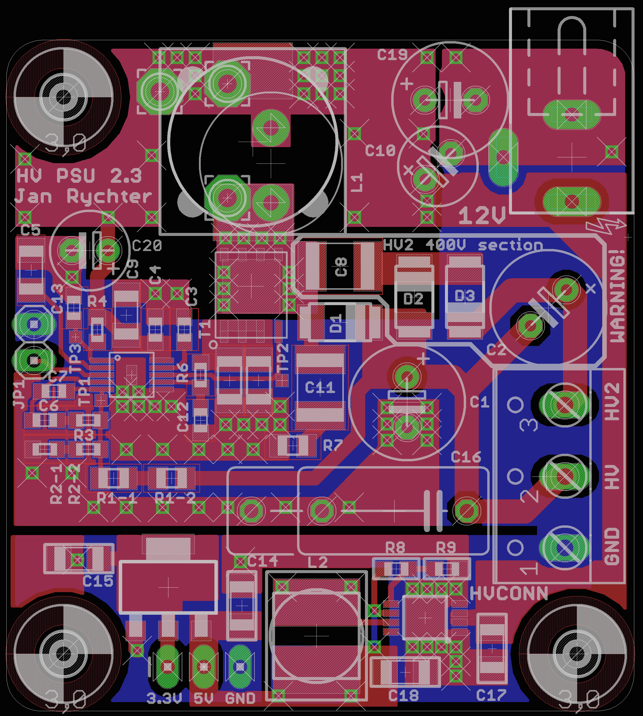 PCB layout. Note the careful ground plane handling.