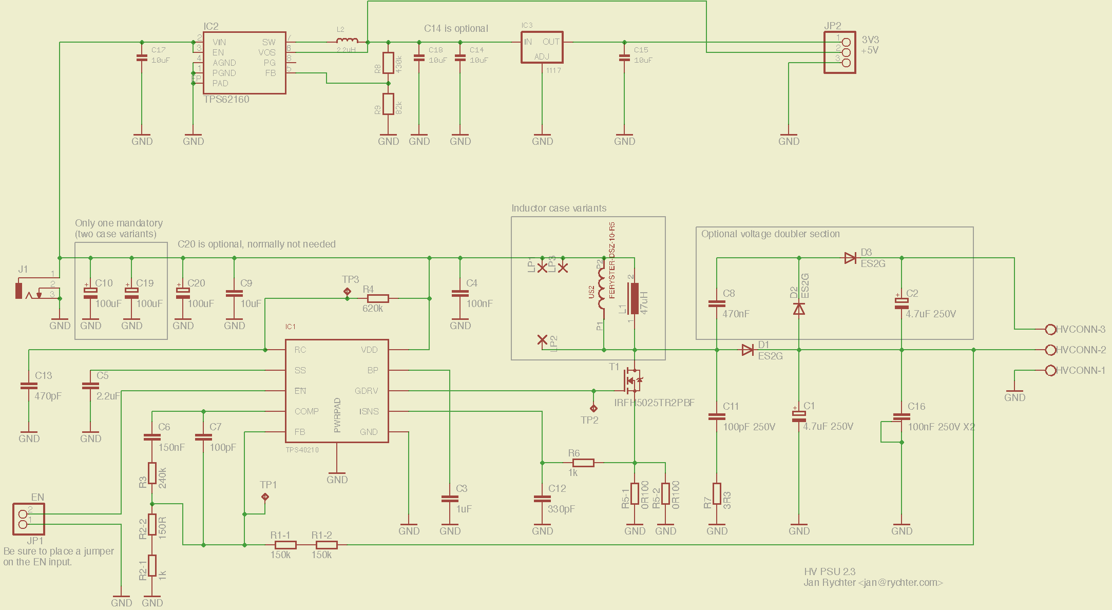 The circuit schematic (you might be better of with the downloadable PDF version, though). Note that some components might look strange because I wanted to have multiple-footprint options.